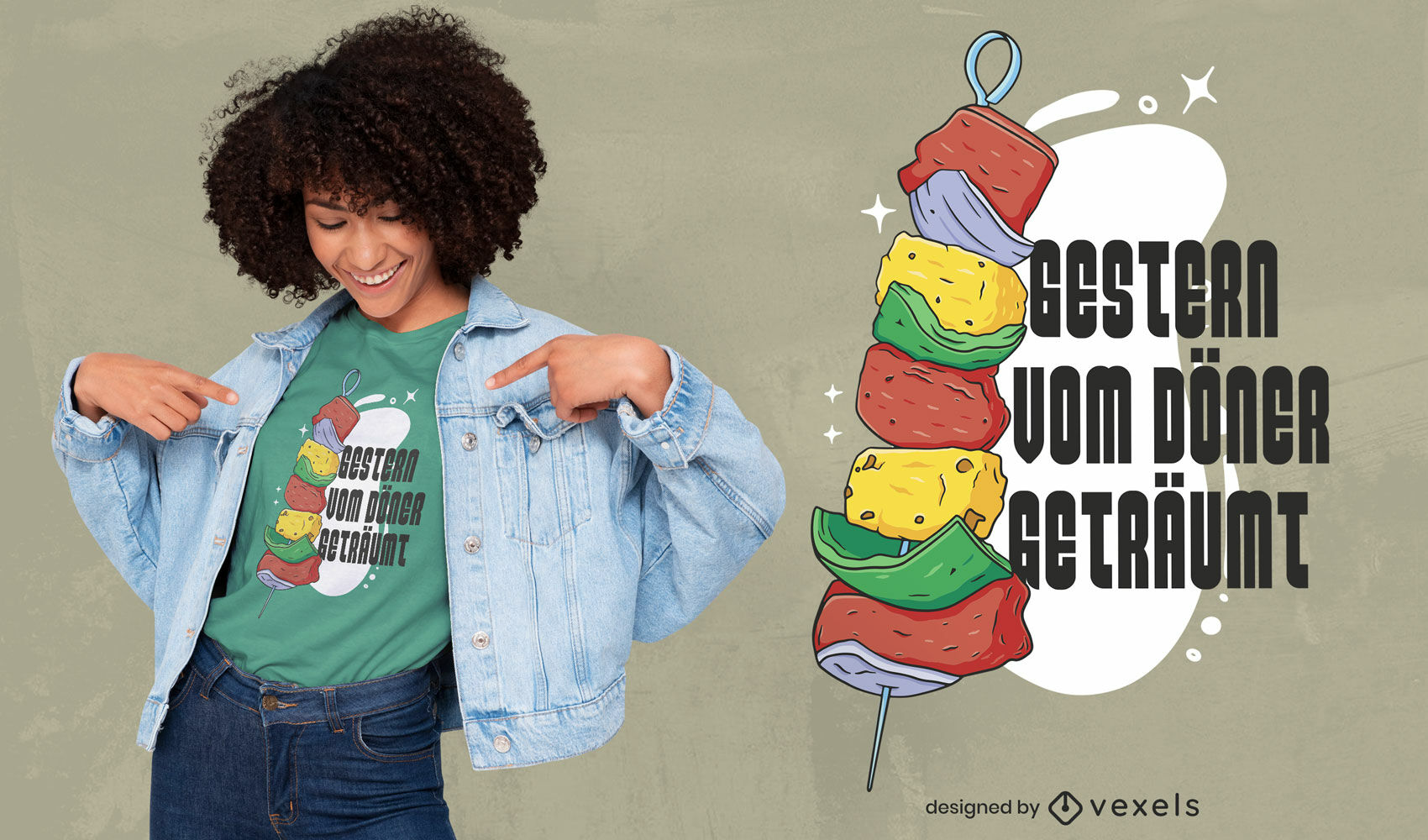 Diseño de camiseta de cita de ilustración de kebab