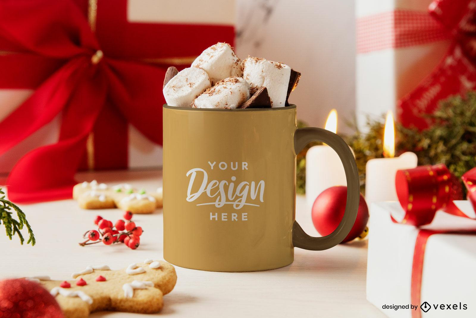 Mug christmas mockup with marshmallows