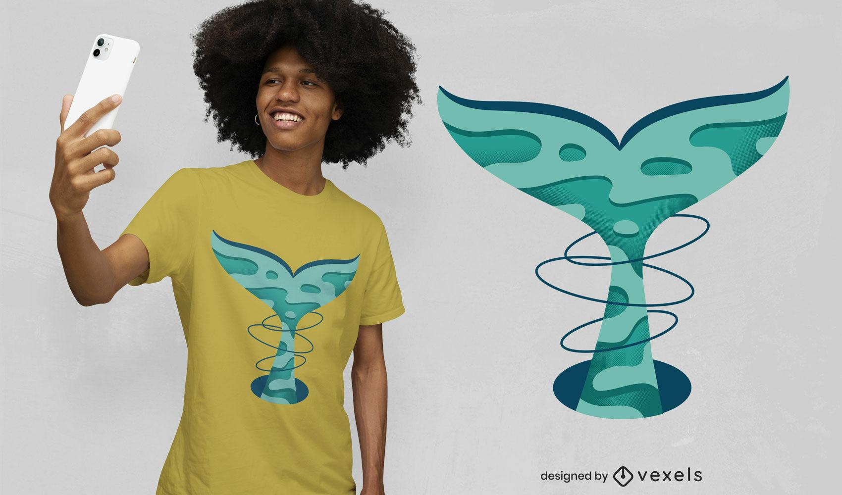 Diseño de camiseta de corte de papel de cola de ballena.
