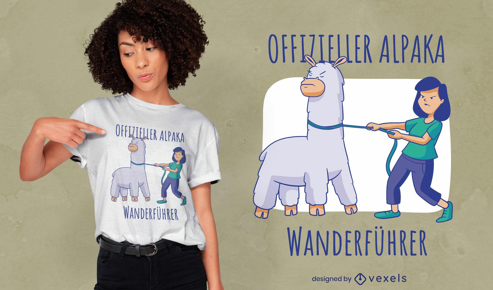 Design de camiseta com citação alemã de alpaca domesticado