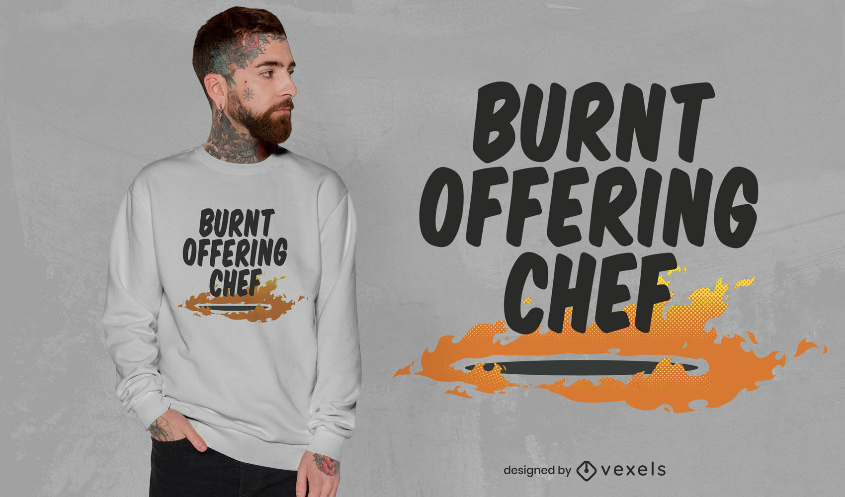 Burnt offering chef quote t-shirt design
