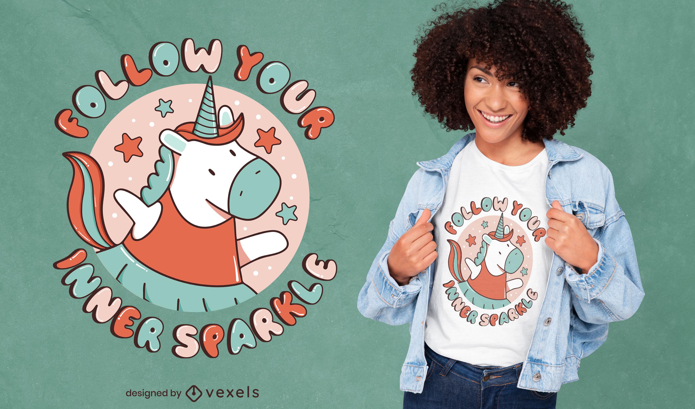 Lindo diseño de camiseta de unicornio motivacional