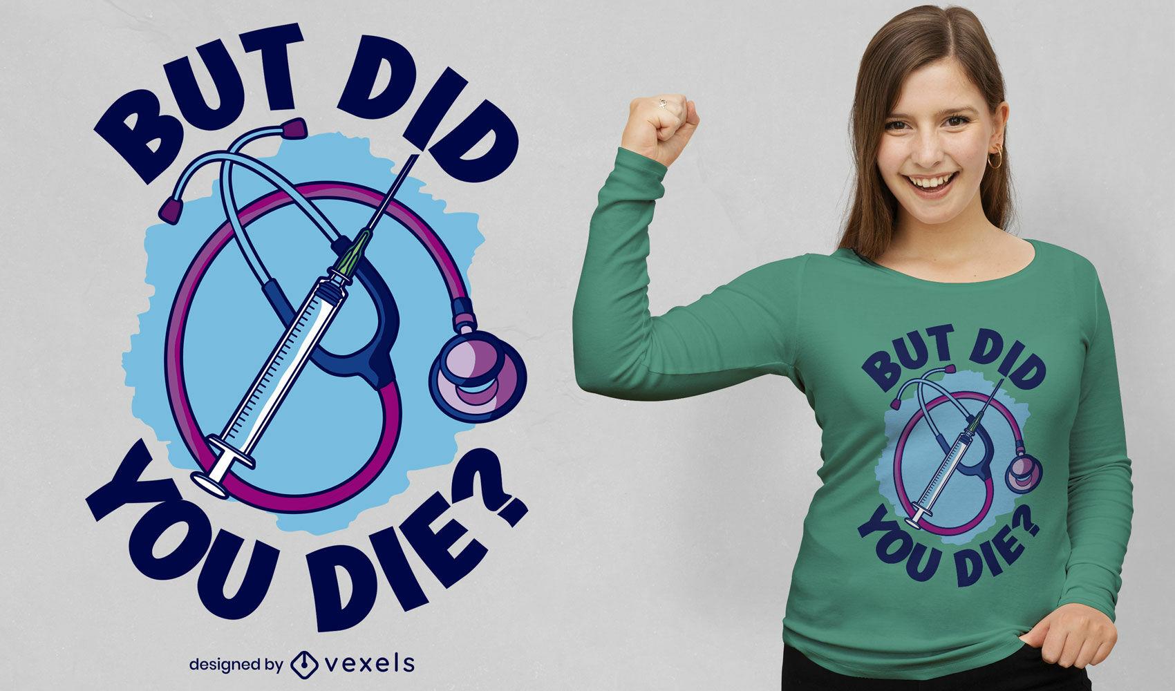 Dise?o de camiseta de doctor en medicina de jeringa