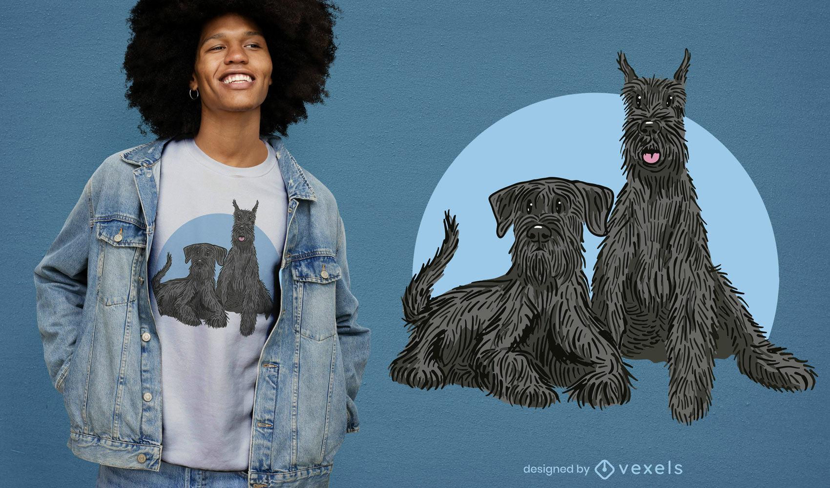 Desenho de t-shirt com ilustração de cães Schnauzer