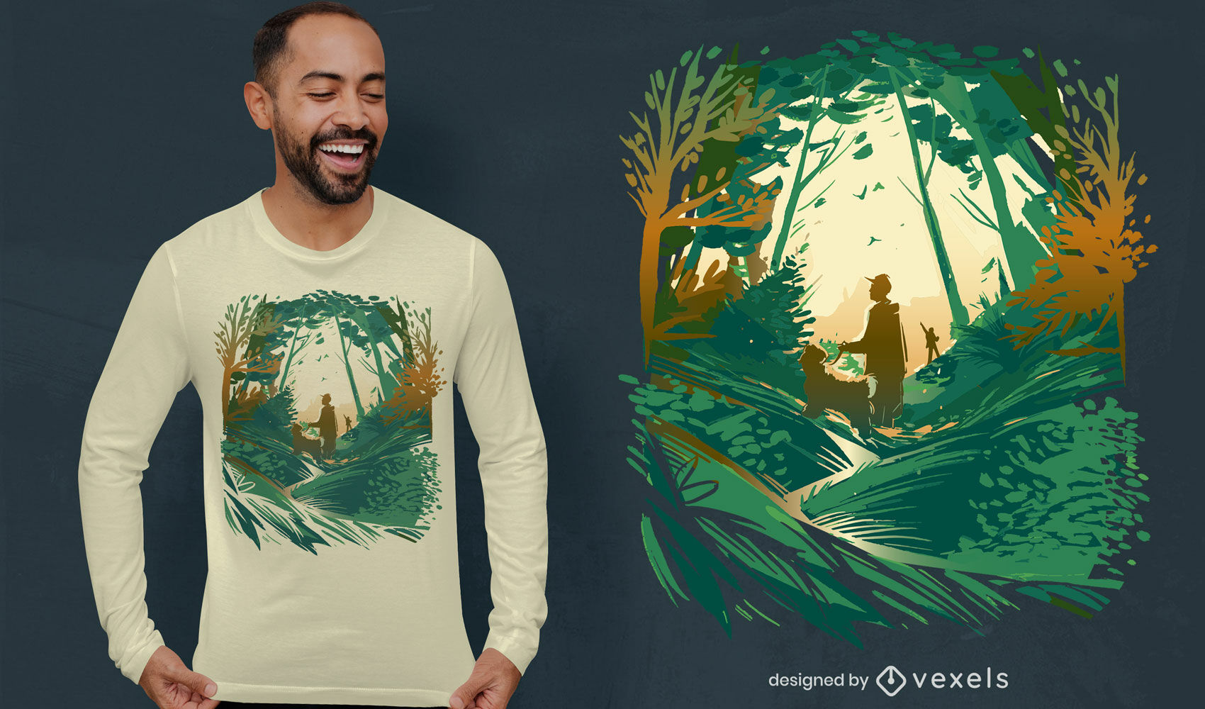 Design de camiseta de cachorro andando na floresta