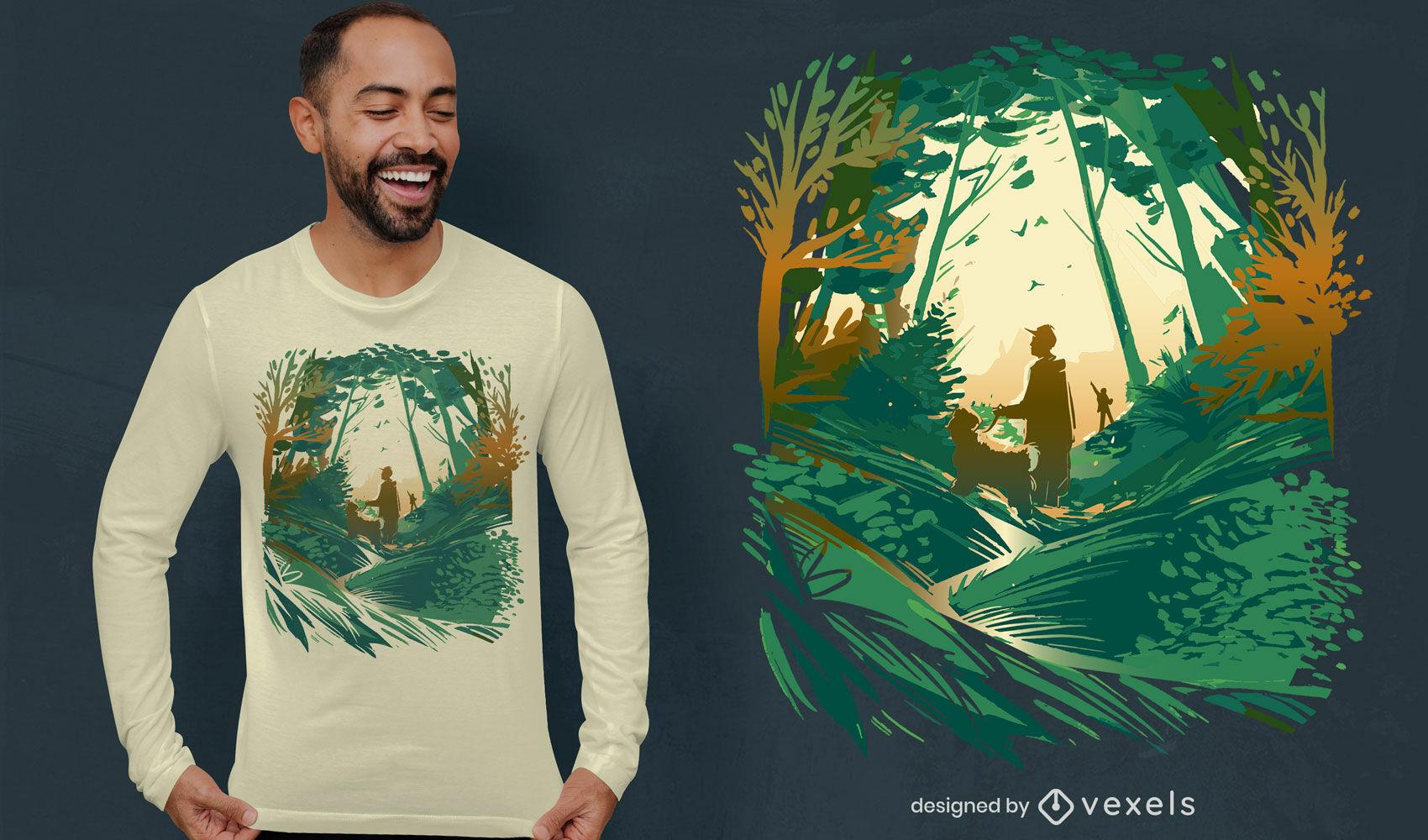 Dise?o de camiseta de perro caminando en el bosque.