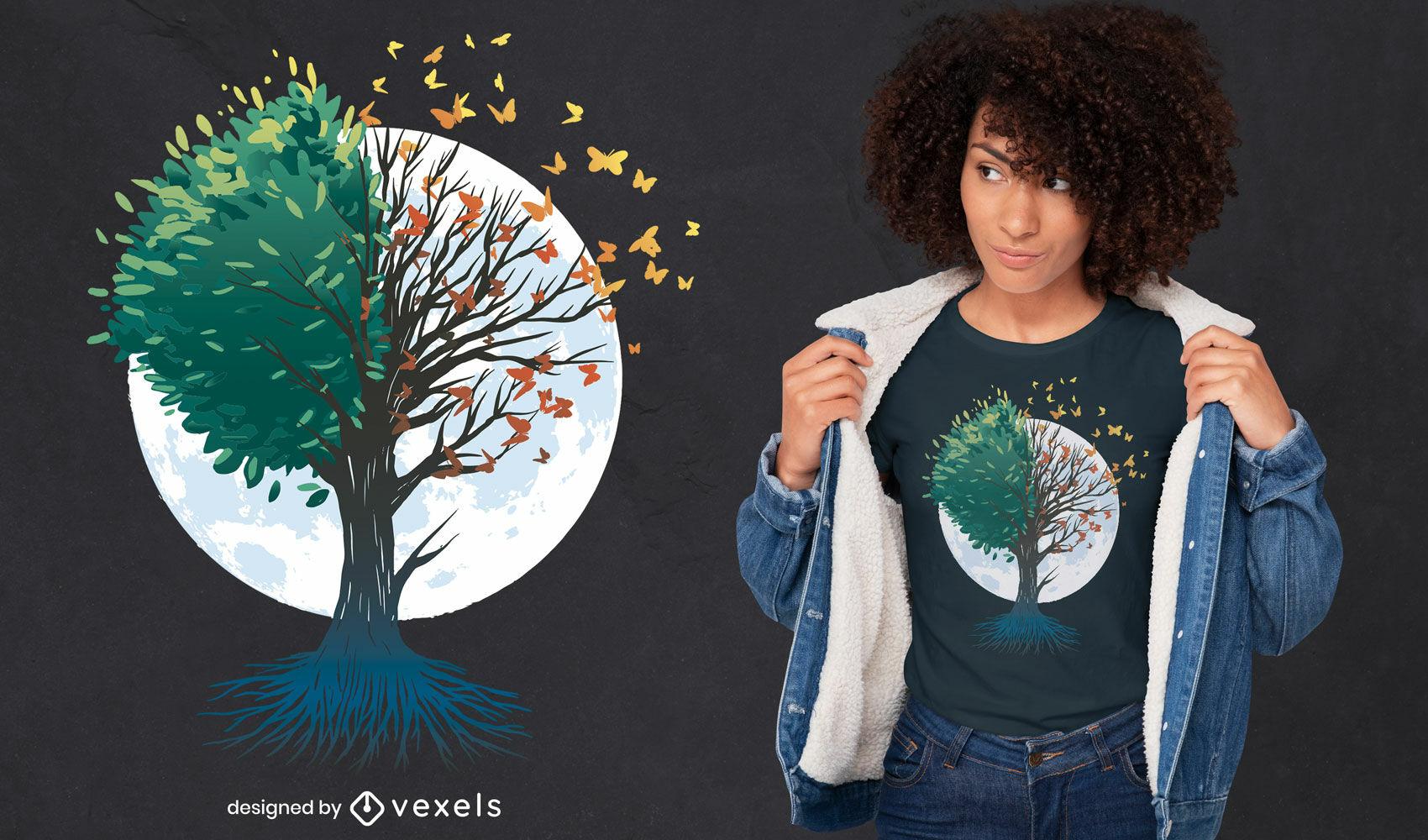 ?rvore de borboletas design de t-shirt de outono