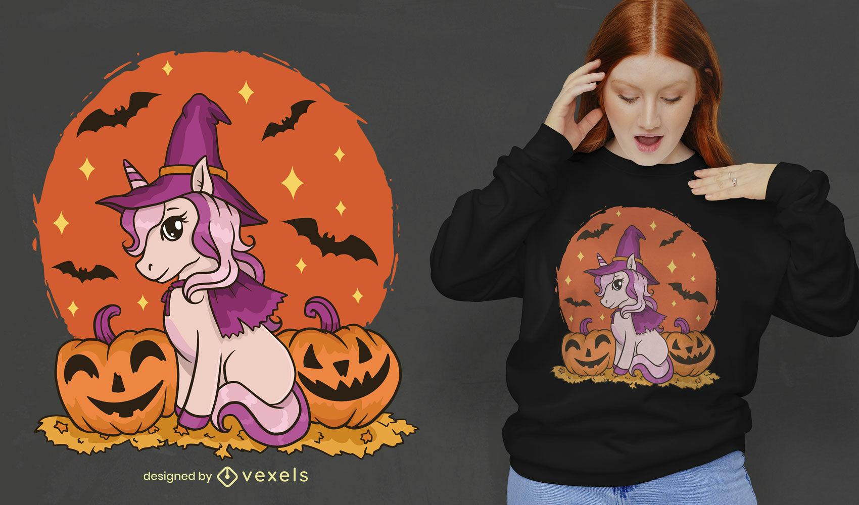 Unicornio bruja hallowen lindo diseño de camiseta