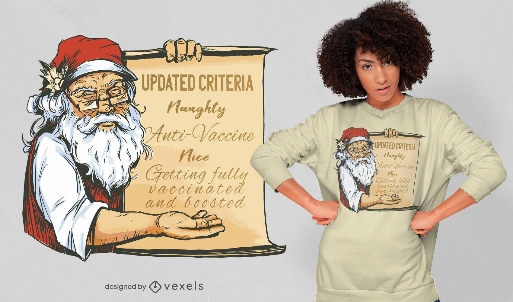 Design legal de camisetas pró-vacina do Papai Noel