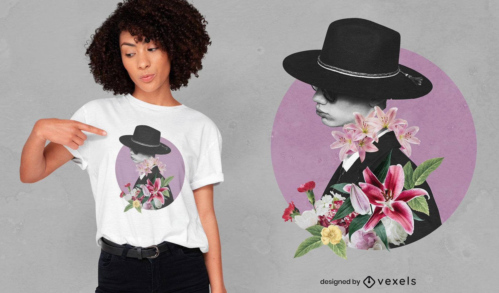 Design de t-shirt psd de colagem de chapéu e flores de menino