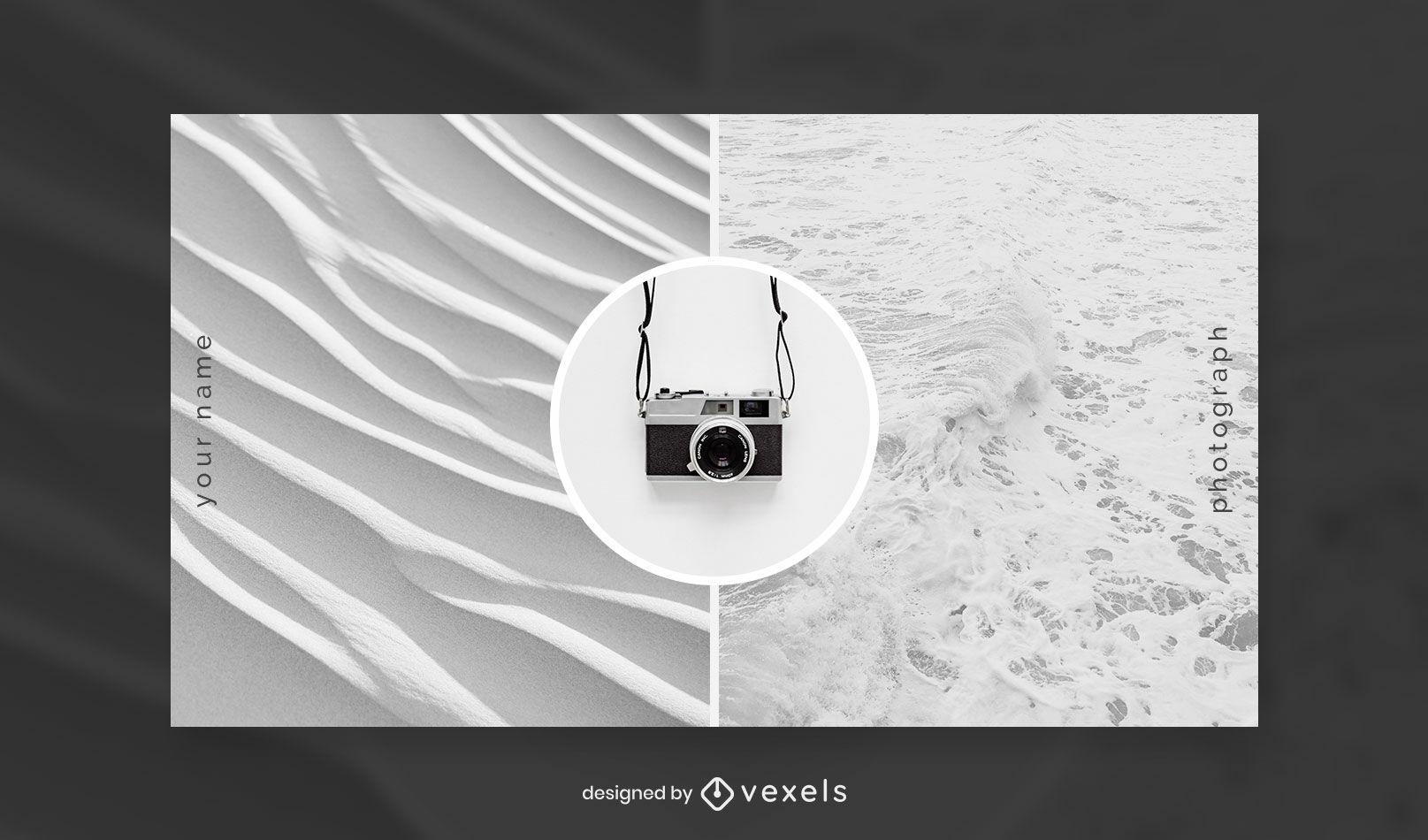 Plantilla de portada de facebook de cámara mínima y texturas