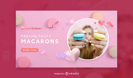 Macarons pink facebook cover template