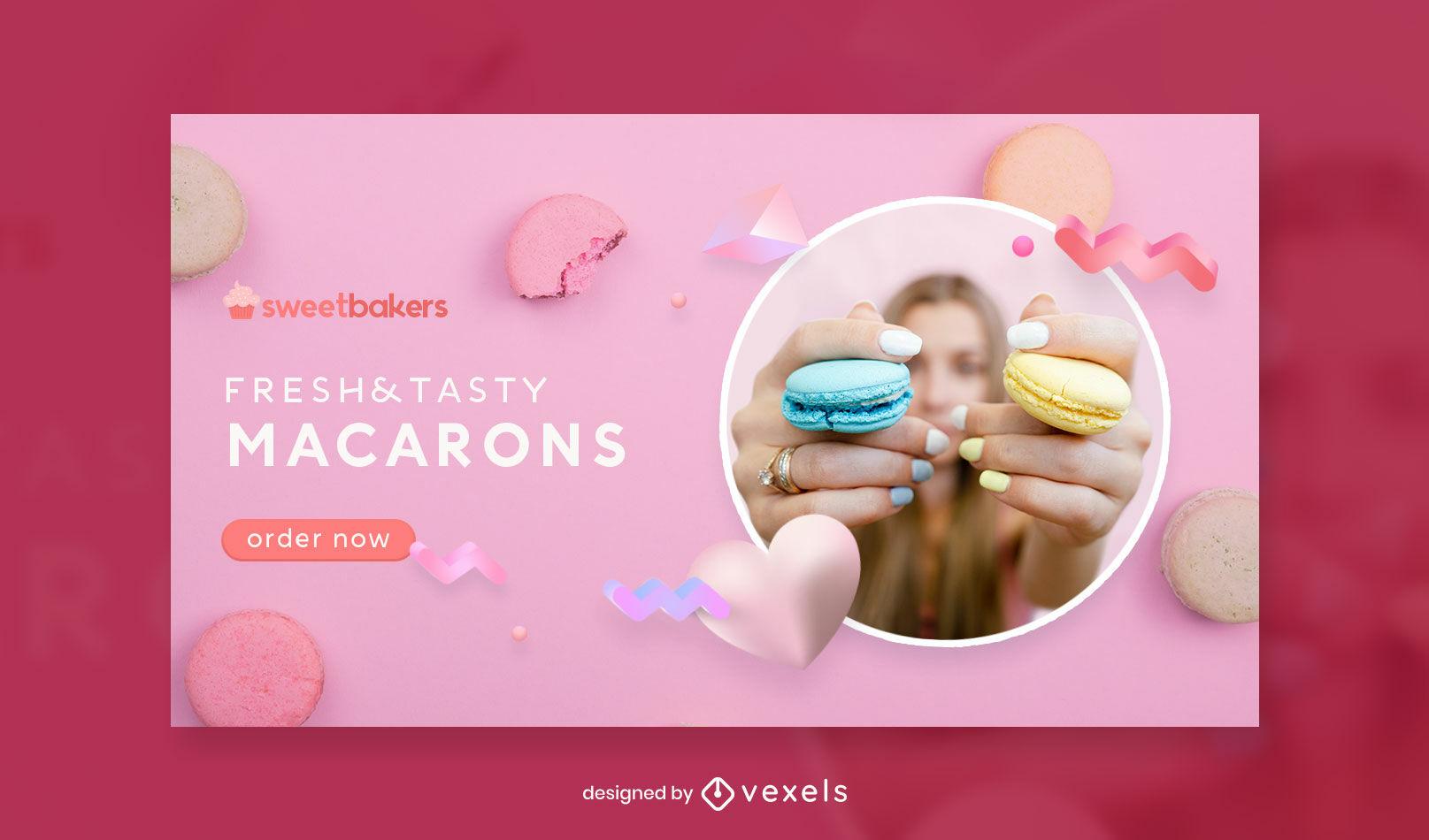 Plantilla de portada de facebook rosa macarons
