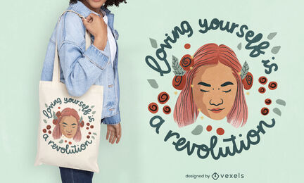 Peaceful woman floral tote bag deisgn