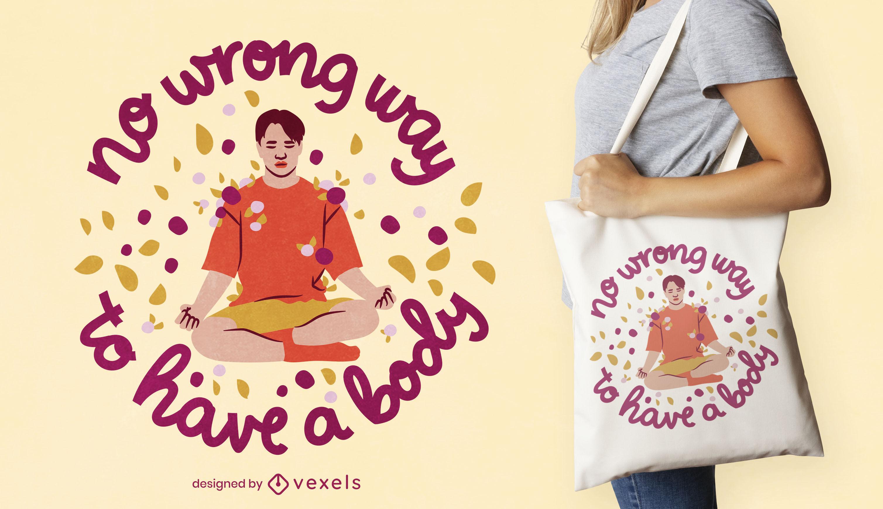 Man meditating floral tote bag design