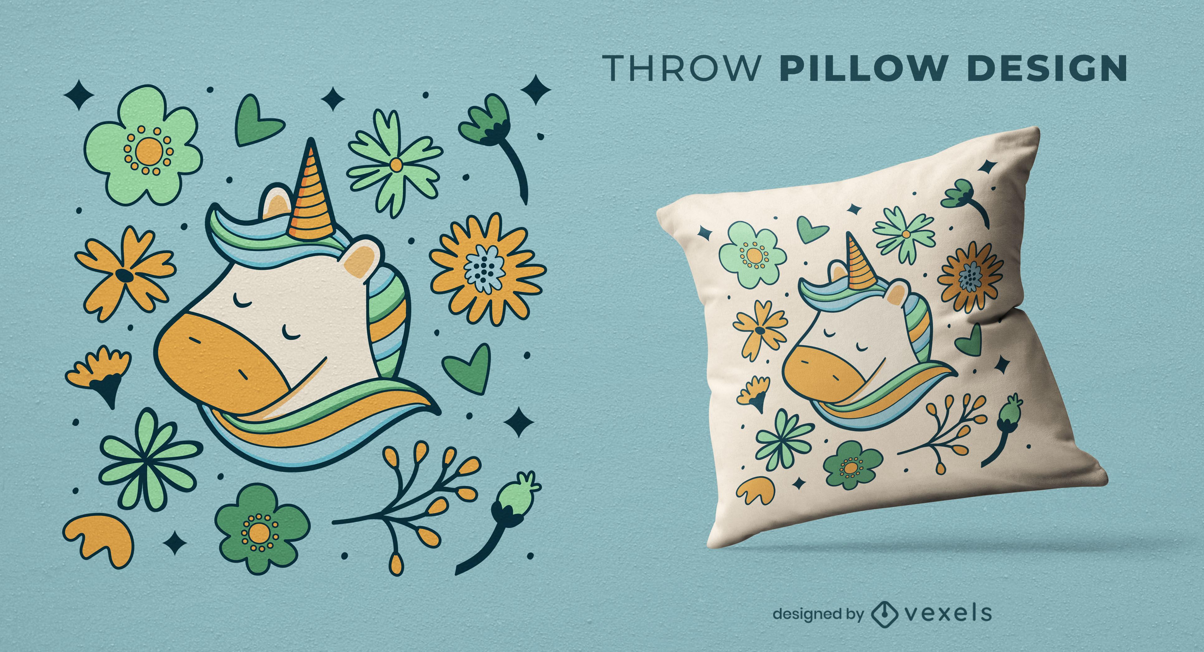 Diseño de almohada de tiro de flores de unicornio feliz