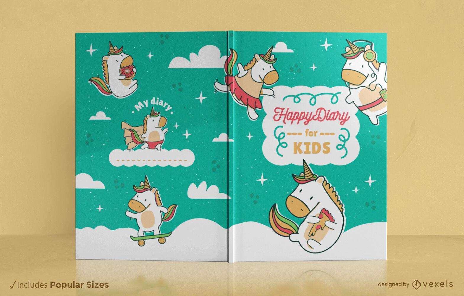 Diseño de portada de libro de dibujos animados feliz unicornio