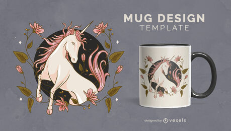 Pink unicorn creature floral mug template