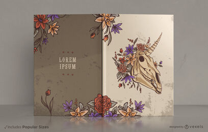 Diseño de portada de libro floral unicornio calavera