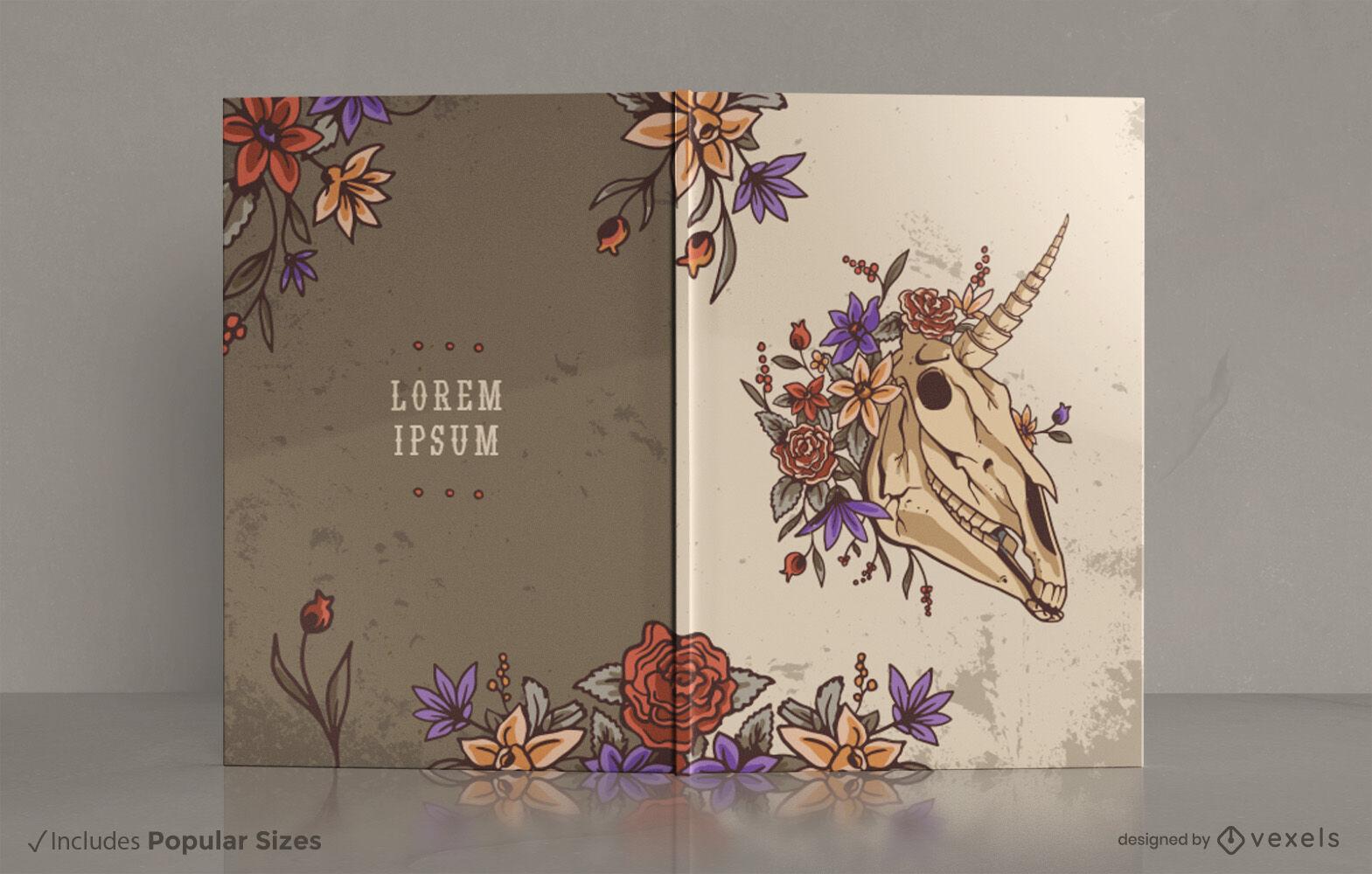 Desenho de capa de livro floral de unicórnio com caveira