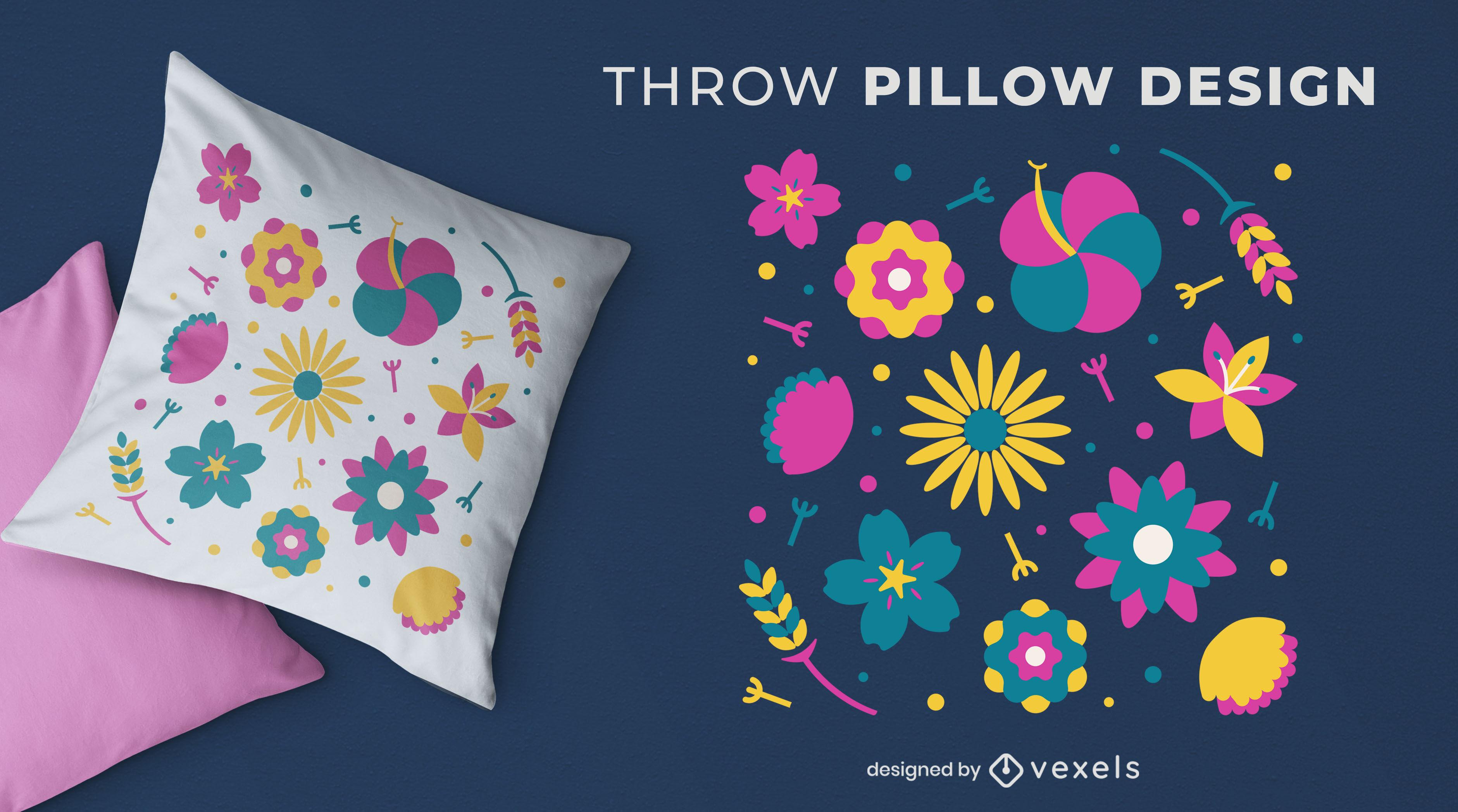Design de travesseiro decorativo de flores coloridas