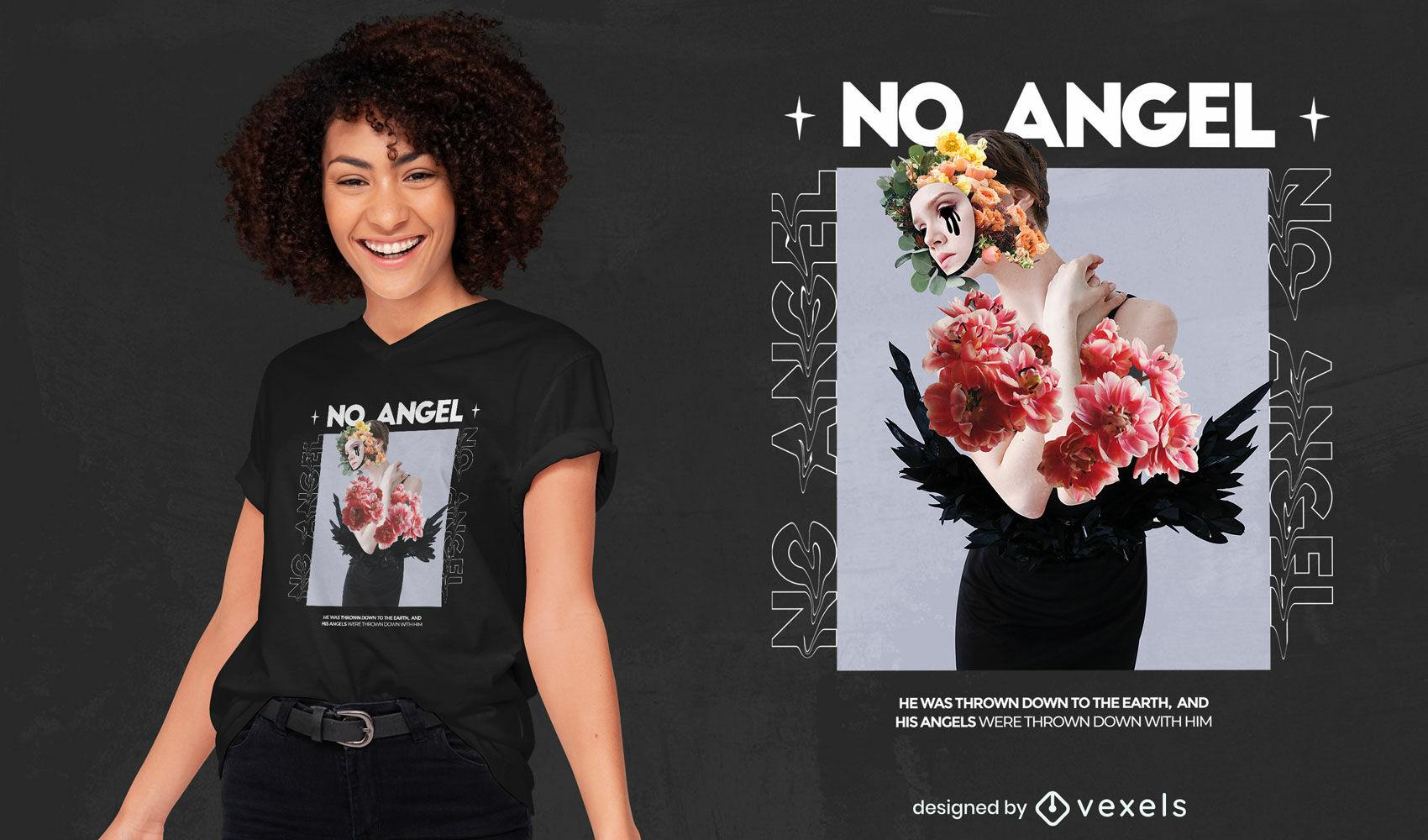 Diseño de camiseta PSD de collage de niña floral enmascarada