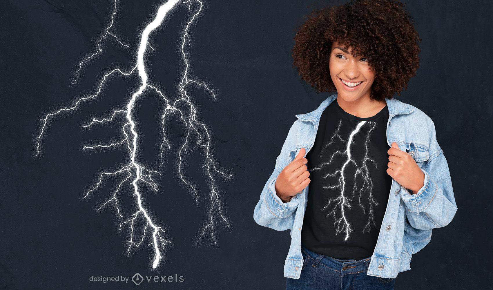 Lightning bolt from above PSD t-shirt design