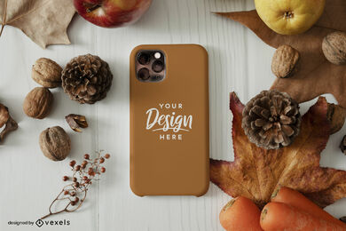 Maqueta de caja de teléfono marrón elementos de otoño