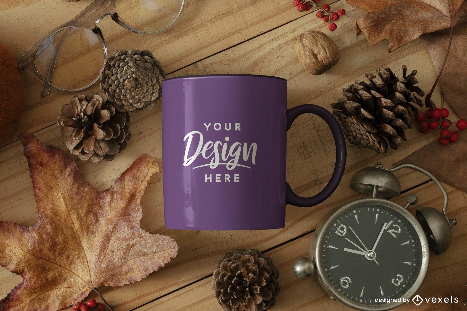 Purple mug mockup autumn table