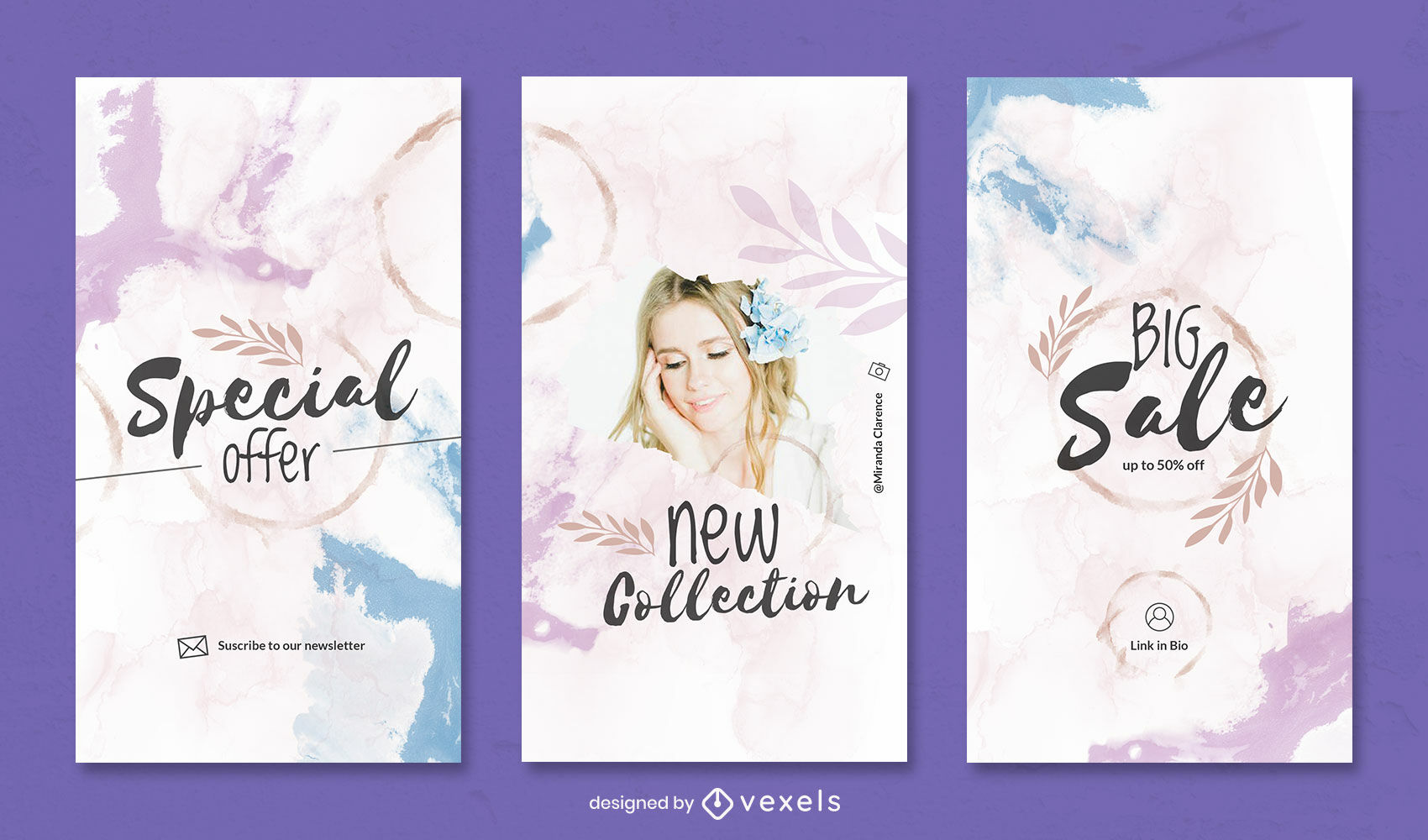 Watercolor and leaves instagram story template