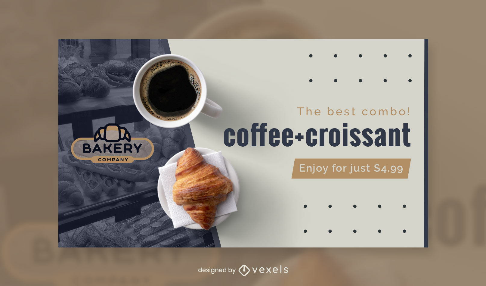 Plantilla de portada de facebook de café y croissant