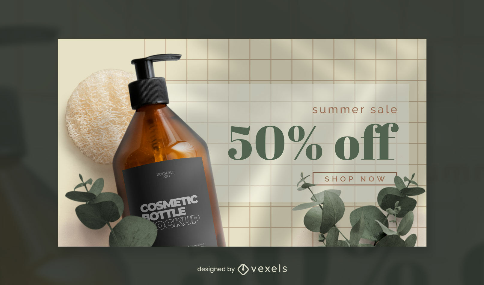 Cosmetic bottle and nature facebook cover template