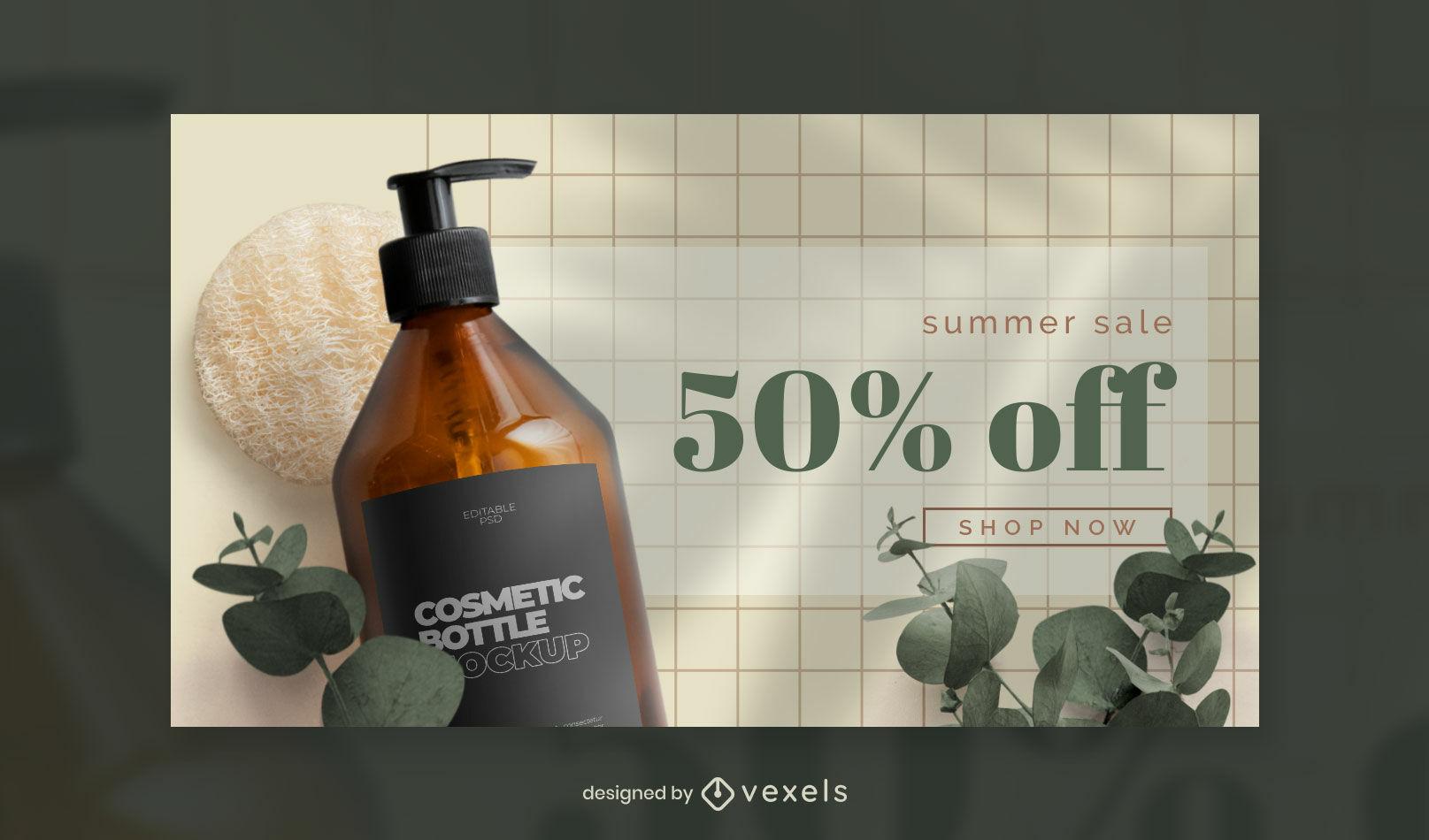Plantilla de portada de facebook de botella cosmética y naturaleza