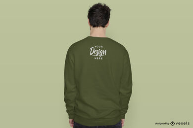 Sudadera verde espalda hombre maqueta fondo verde