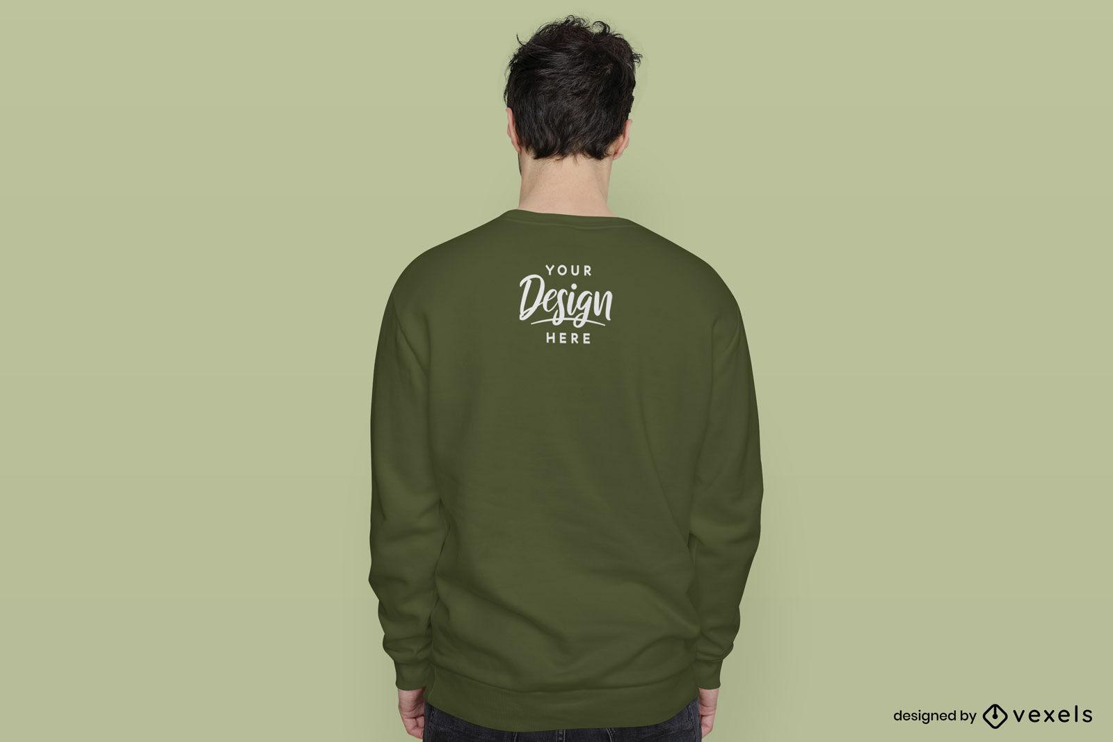 Green sweatshirt back man mockup green background
