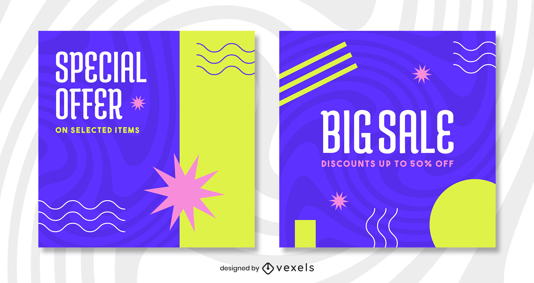 Retro blue and colorful sale instagram post template