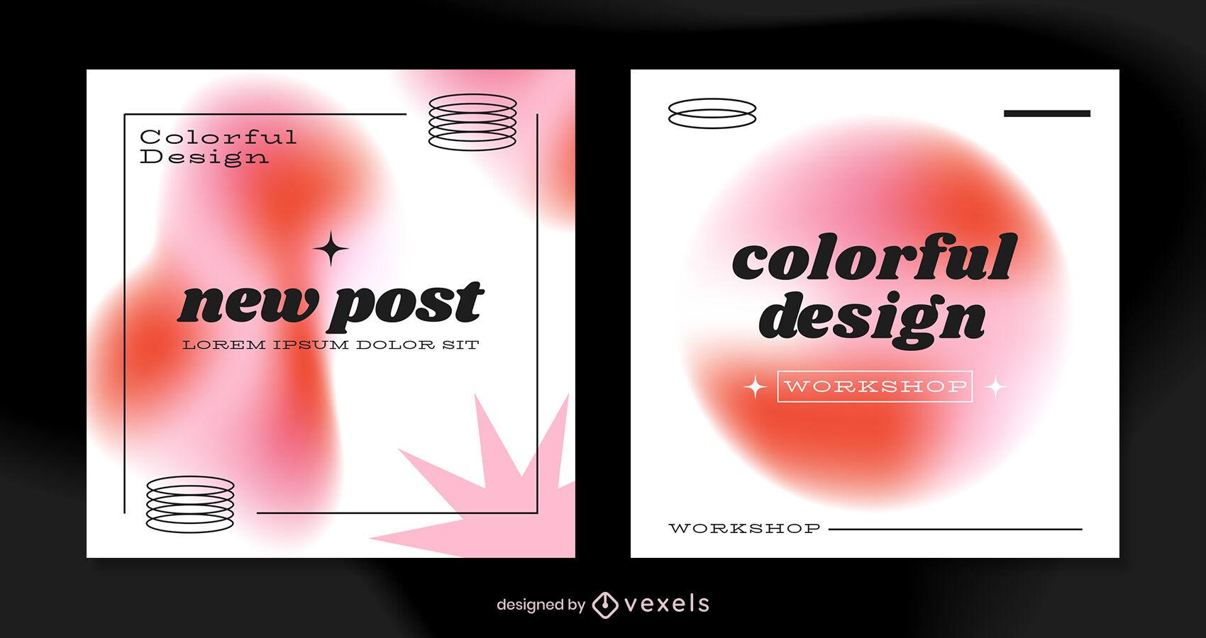 Tonos rojos y plantilla de publicaci?n de instagram retro blanca