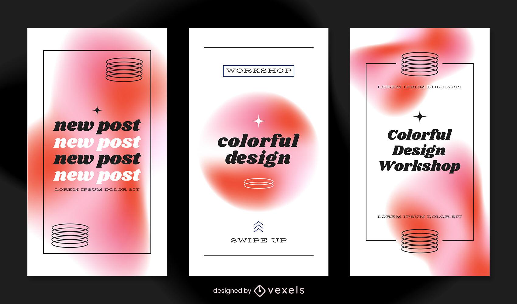 Plantilla de historia de instagram retro en tonos rojos