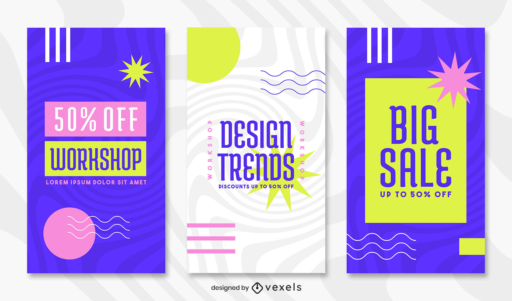 Colorful blue memphis style instagram story template