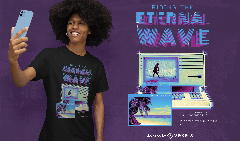 Surfing retro vaporwave psd t-shirt design
