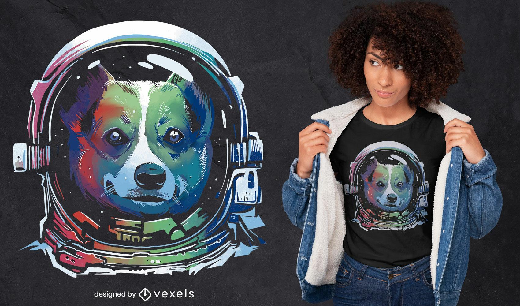 Design de t-shirt de cão astronauta arco-íris psd