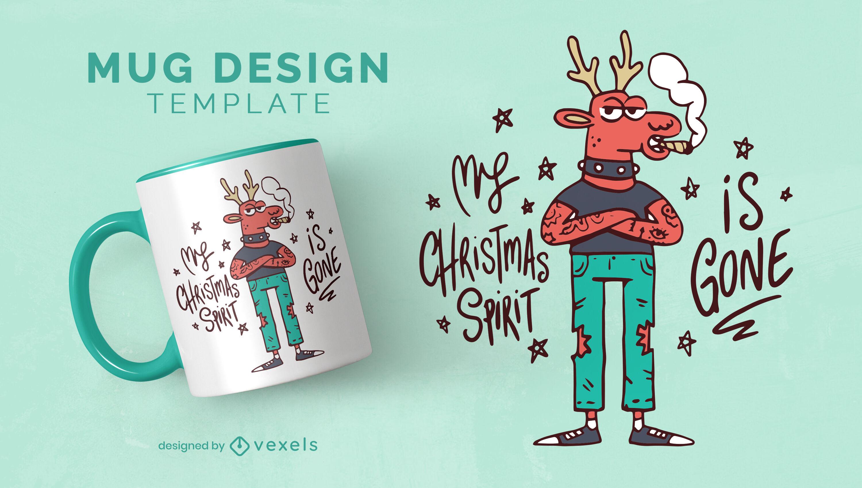 Diseño de taza anti navidad de reno punk