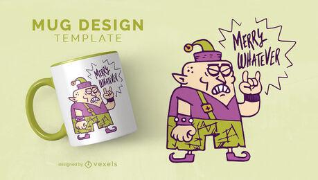 Punk christmas elf character mug design