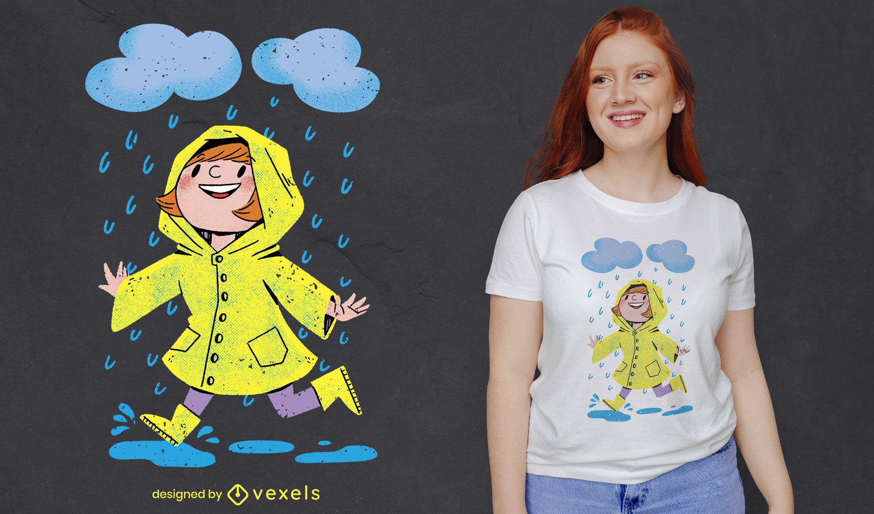 Chica bajo la lluvia diseño de camiseta psd