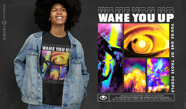 Trippy photographic eye psd t-shirt design