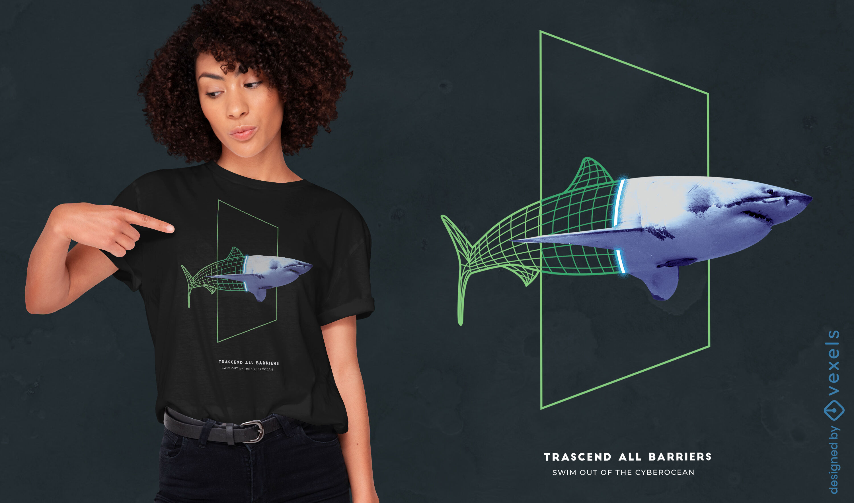 Diseño de camiseta Cyber Shark Wireframe