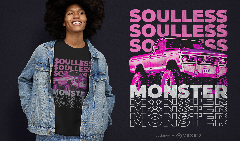 Design de camiseta psd monster truck sem alma