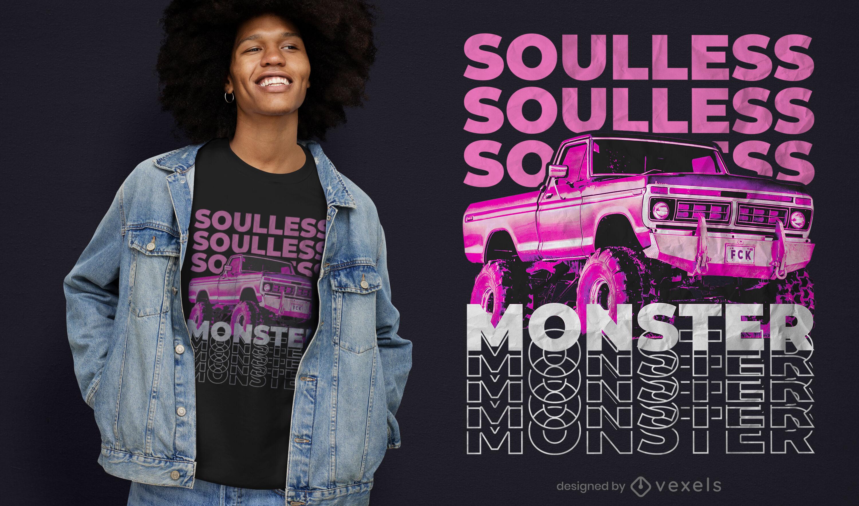 Soulless monster truck psd t-shirt design