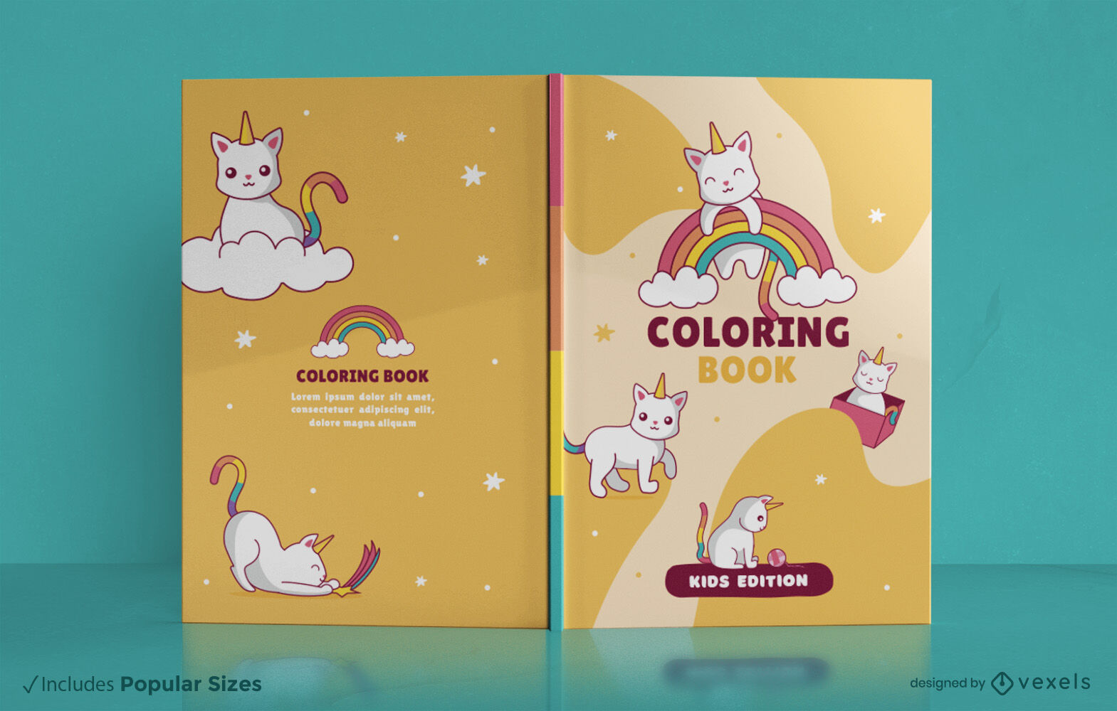 Desenho de capa de livro fofa animal gato unicórnio