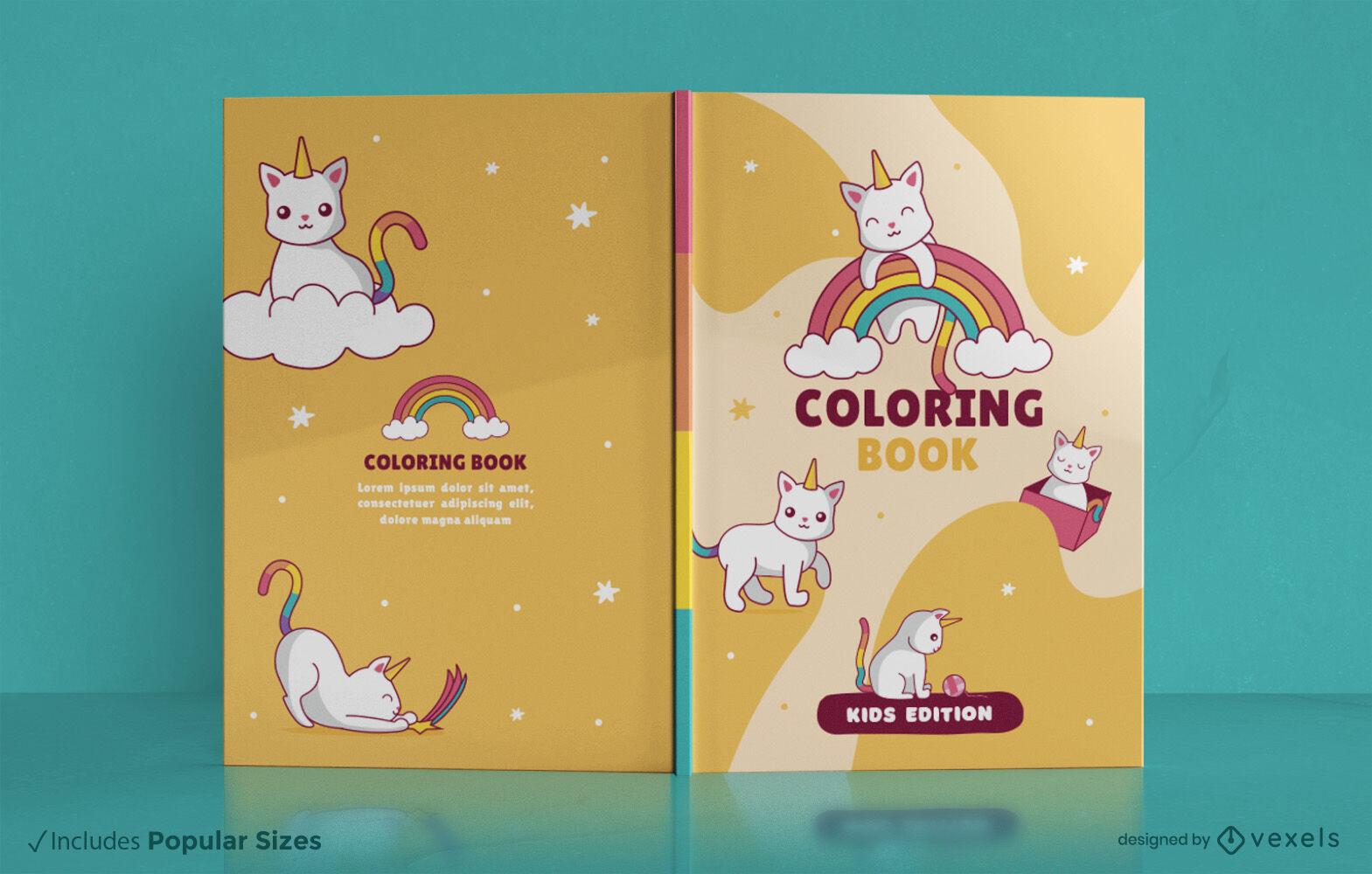 Diseño de portada de libro lindo unicornio gato animal